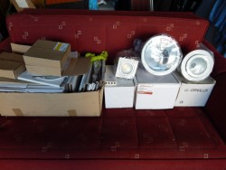 set of three new lights and lot of light fittings