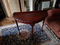 As new mahogany half moon hall table