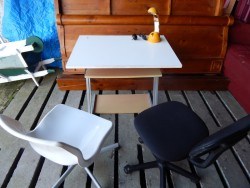 childs desk, chairs and lamp