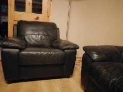 3 seater sofa with 2 leather chairs.