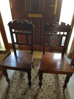 2 antique oak  hall chair  very nice chairs