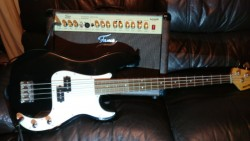 Bass guitar and 30 watt amp.
