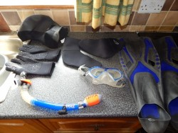 wet-suit and snorkel set