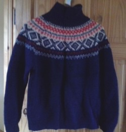 Warm Handknit Woolen Jumper, Fairisle Pattern