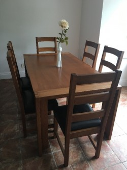 Oak Rectangular Dining Table + 6 High Back Chairs