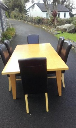 Table & Six (6) Leather Chairs