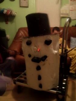 Large wooden snowman