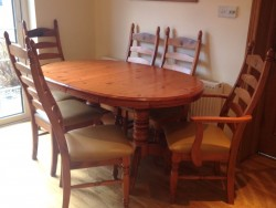 Pine Kitchen Dining Table with 6 High Back Chairs