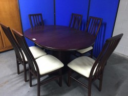 MAHOGANY DINING SET (EXTENDING TABLE/6 CHAIRS) - Approx1500mm Extended