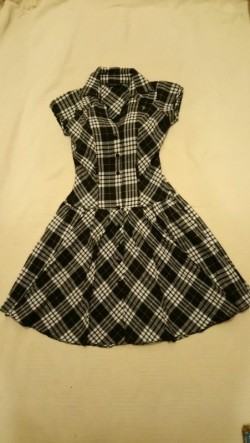 Dorothy Perkins Black Check dress - size 8