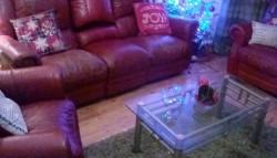 Leather 3+2+1 burgandy/red sofa