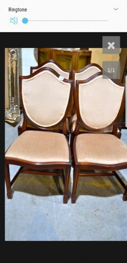4 antique  mahogany sheild  design  chairs