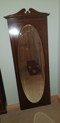 Antique  mahogany inlaid long mirror