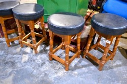 As new 3 heavy oak bar stools