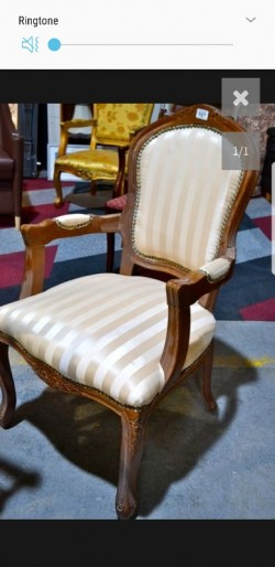 New mahogany  cream stripped Louis  chair