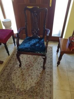 New mahogany  green velvet seated armchair