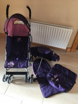 Stroller / buggy with parasol, foot muff and extra padding-excellent condition