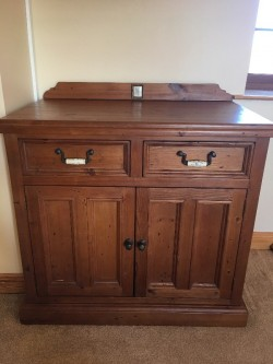 Solid wood cupboard with drawers