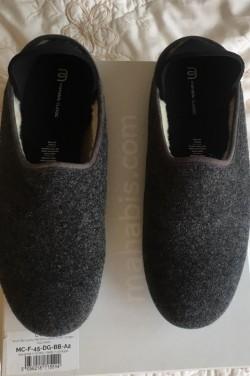 Men's wool slippers EU45/UK10.5 dark grey/blue
