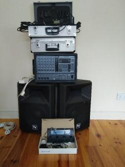 Electrovoice EV-SX300 Speakers pair, Yamaha EMX 62M mixer, Stands, flight case