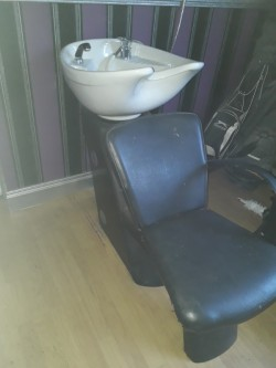 Hair dressing sink and chair. Portable beauty bed