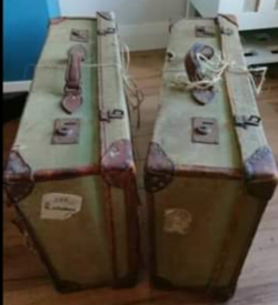 Vintage green distressed suitcases x2