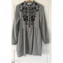 Zara Grey Embroidered Dress