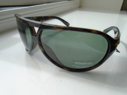 BRAND NEW, IN ORIGINAL POLAROID HARD CASE, GENUINE POLAROID UNISEX SUNGLASSES, BROWN FRAME, 8741 C