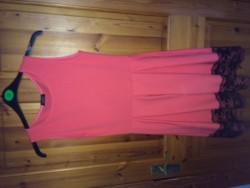 Pink black lace bottom dress