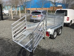 8ft 2' x 5ft2' HIGH MESH SIDE TWIN AXLE BRAKED GALVANISED TRAILERS