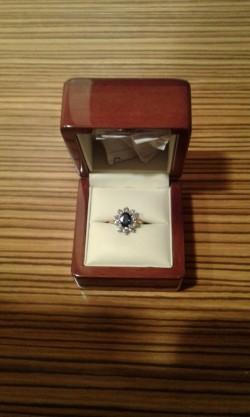 Sapphire / Diamond Cluster Ring