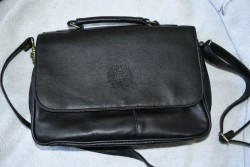 Embossed Logo Black Handbag