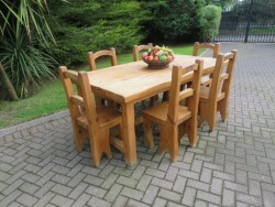 Heavy Plank-Pine Country Kitchen Table & 6 Chairs