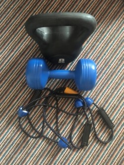 Kettle bell, dumb bell & exercise pull rope
