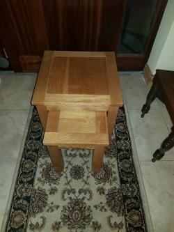 Heavy  light oak nest of two tables