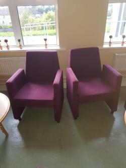 2  new ex display purple  armchairs