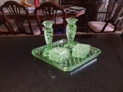 Antique  lime coloured  glass wash set