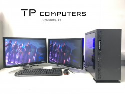 Gaming Computer PC, Setup with Dual Monitors (AMD 8 Core 4GHz, GTX 970, 8GB RAM)