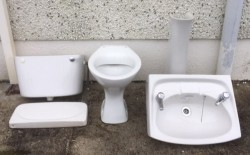 Wash Hand Basin, Pedestal, Toilet & Cistern as per picture