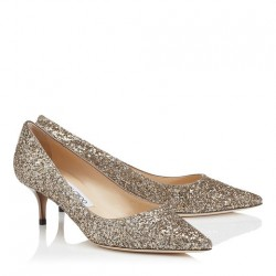 Jimmy Choo Antique Gold Glitter Fabric Pointy Toe Pumps wedding shoe - Unopened Size 5