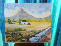 Luigi Caron original one-of-a-kind oil painting – Cottage