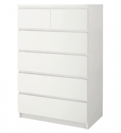 Chest of 6 drawers, white, IKEA;MALM, perfect condition