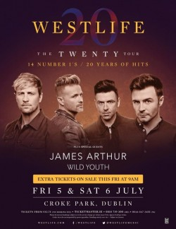 2x seated tickets for Westlife, Friday 5th July