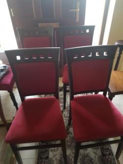 As new 4 oak dining chairs velvet  seats