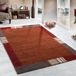 Woven Rug Modern Design Carpet In Terracotta Beige Border Style, Size:160x230 cm