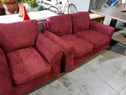 New 2 seater terracotta fabric couch  + chair