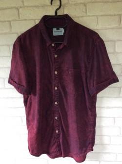 Shirt sleeveed topman shirt in burgundy