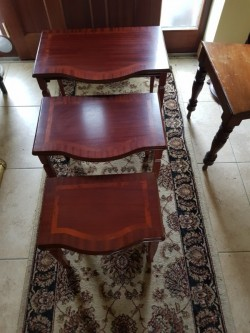 As new mahogany  inlaid nest of tables
