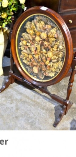 Mahogany  fire screen in dryed flowers display Priced