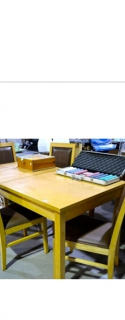 As new light oak table x4 high backed leather chairs
